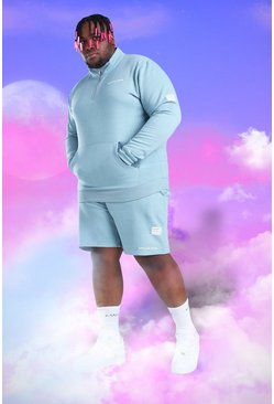 Light blue blue Big and Tall MAN 1/4 Zip Short Tracksuit