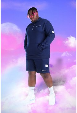 Navy Plus Size MAN 1/4 Zip Short Tracksuit