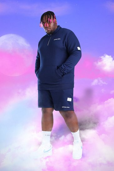 Navy Big and Tall MAN 1/4 Zip Short Tracksuit
