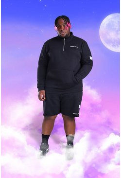 Black Plus Size MAN 1/4 Zip Short Tracksuit