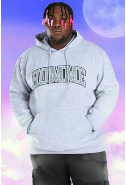 Grey Plus Size Homme Embroidered Hoodie