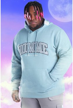 Light blue blue Plus Size Homme Embroidered Hoodie