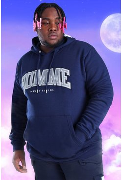 Plus Size Homme Embroidered Hoodie, Navy azul marino
