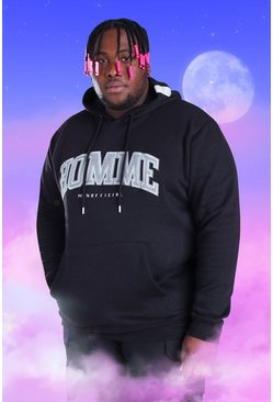 Black Plus Size Homme Embroidered Hoodie