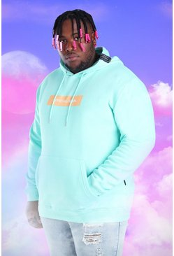 Mint green Plus Size Official MAN Box Print Hoodie