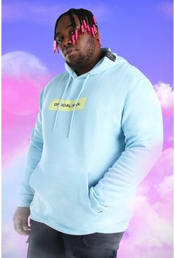 Light blue blue Plus Size Official MAN Box Print Hoodie