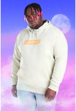 Ecru white Plus Size Official MAN Box Print Hoodie