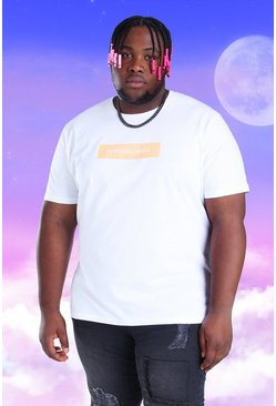 White Plus Size Official MAN Box Print T-Shirt