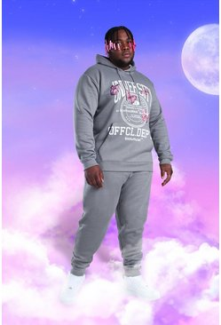 Light grey grey Plus Size MAN Butterfly Print Tracksuit