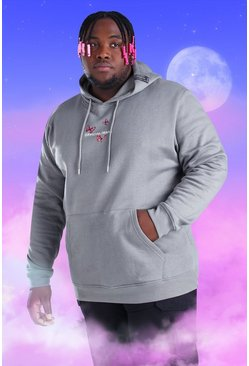 Light grey grey Big And Tall MAN Butterfly Print Hoodie