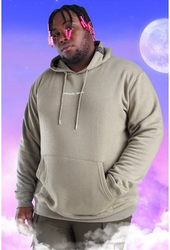 Khaki Plus Size Official MAN Print Hoodie