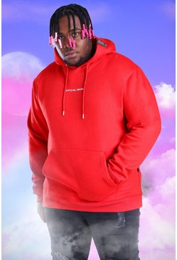 Red Big And Tall Official MAN Print Hoodie