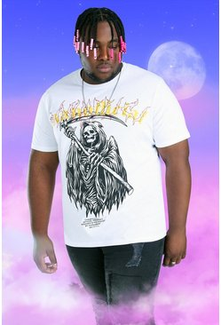 White Plus Size MAN Official Skull Print T-Shirt