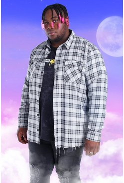 Grey grå Plus Size Check Overshirt With Woven Tab