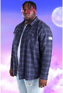Navy marinblå Plus Size Check Overshirt With Woven Tab