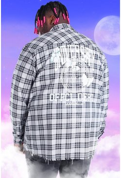 Grey Plus Size Check Overshirt With Back Print