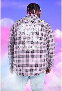 Pink Plus Size Check Overshirt With Back Print