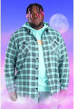 Mint green Big And Tall Check Overshirt With Woven Tab