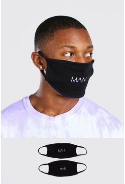 Black 2 Pack MAN Dash Reversible Fashion Masks