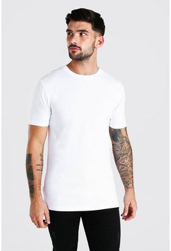 Muscle Fit Crew Neck T-Shirt, White blanco