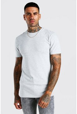 Grey marl grey Muscle Fit Crew Neck T-Shirt