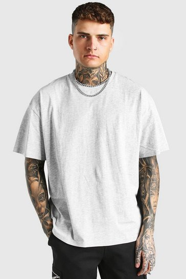 Grey marl grey Oversized Crew Neck T-Shirt