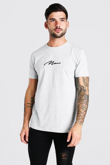 Grey marl grey MAN Signature Embroidered T-Shirt