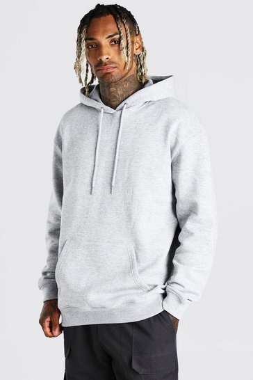 Grey marl grey Oversized Over The Head Fleece Hoodie