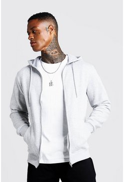 Grey marl grey Basic Zip Through Fleece Hoodie