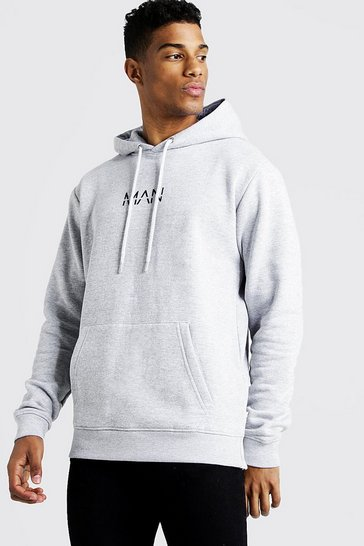 Grey marl grey Original MAN Over The Head Fleece Hoodie