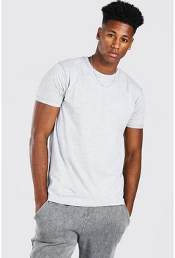 Grey marl grey Basic Rolled Sleeve T-Shirt