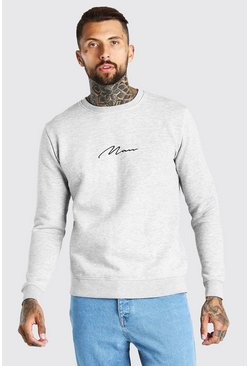 Sweat-shirt signature MAN brodée, Gris chiné gris