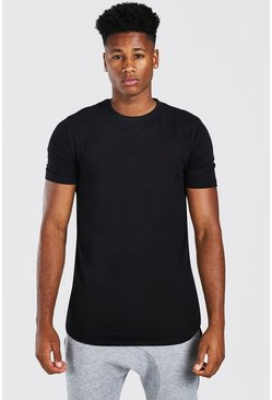 Black Basic Muscle Longline Curved Hem T-Shirt