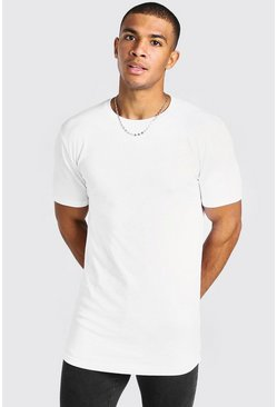 White vit Basic Lång t-shirt i muscle fit med rundad kant
