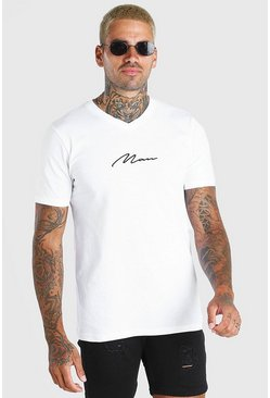 White MAN Signature V Neck T-Shirt