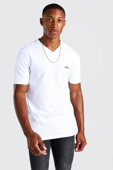 White MAN Signature V Neck Muscle Fit T-Shirt