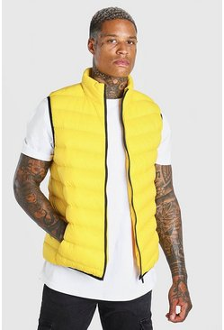 Yellow Quilted Funnel Neck Gilet