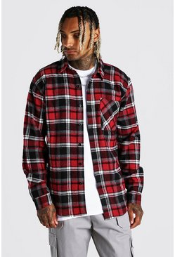 Red Heavy Weight Check Overshirt