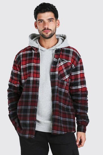 Red Heavy Weight Check Overshirt With Ombre Hem