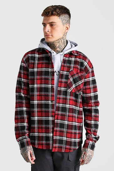 Red Long Sleeve Check Overshirt With Back Embroidery