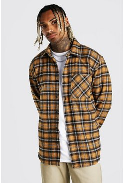 Mustard yellow Heavy Weight Check Overshirt With Back Print