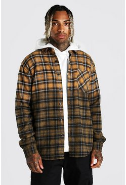 Mustard yellow Heavy Weight Check Overshirt With Ombre