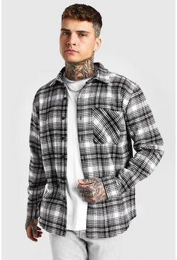 Ecru white Heavy Weight Check Overshirt