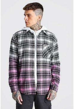 Ecru Heavy Weight Check Overshirt With Ombre Hem