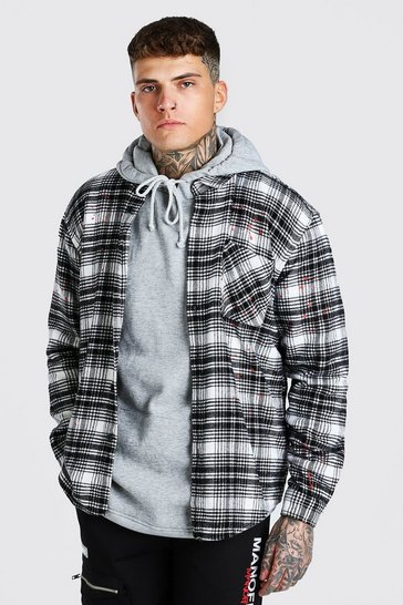 Ecru white Heavy Weight Check Overshirt With Paint Splatter