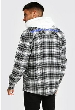 Ecru white MAN Official Back Print Check Overshirt