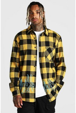 Yellow Check Overshirt With Flame Print