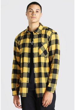 Yellow Long Sleeve Check Overshirt With Distressed Hem