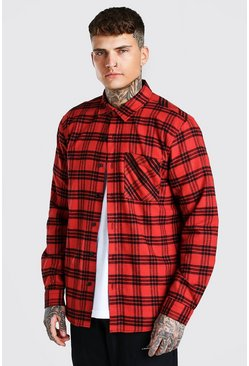 Red Long Sleeve Check Overshirt