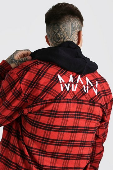 Red MAN Check Overshirt With Back Embroidery
